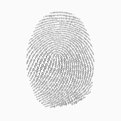 Fingerprint made with binary code, futuristic bionic concept