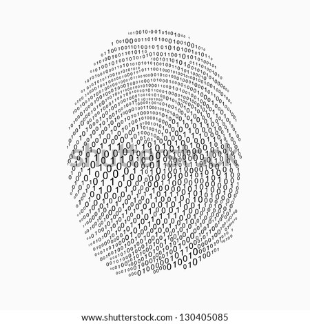 Fingerprint made with binary code futuristic bionic concept
