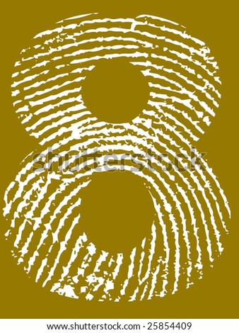 Fingerprint Number - 8 (Highly detailed grunge Number)