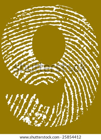Fingerprint Number - 9 (Highly detailed grunge Number)