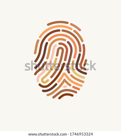 Fingerprint of many different skin tones. Illustration for diversity and unity. The concept of one human race. Poster design against racism.  Foto stock ©