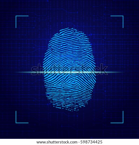 Fingerprint On Computer Technology Background. Vector