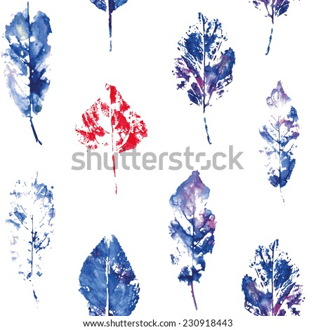 fingerprint pattern from the cold of autumn leaves and one red contrasting leaf painted in watercolor
