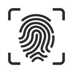 Fingerprint recognition vector icon isolated on white background