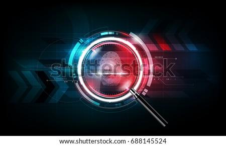 fingerprint scan and magnifying ...