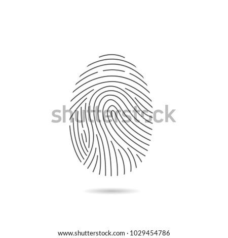 Fingerprint scan icon for computer security. Vector illustration
