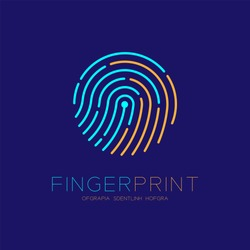 Fingerprint scan logo icon dash line design illustration blue and orange isolated on dark blue background with Fingerprint text and copy space, vector eps10