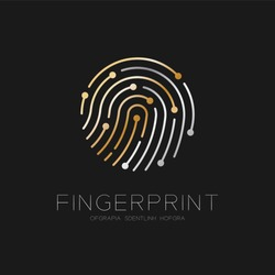 Fingerprint scan logo icon dash line design illustration gold and silver isolated on black background with Fingerprint text and copy space, vector eps10
