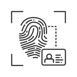 Fingerprint scan provides security access black line icon. ID and verifying, person. Concept of: authorization, dna system, scientific technology, scanning. Biometric identification.