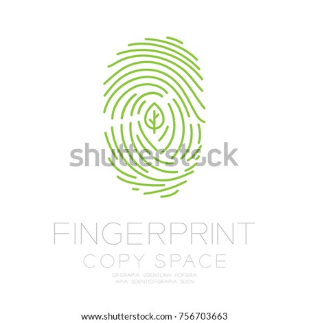 Fingerprint scan set with leaf symbol concept idea illustration isolated on white background, and Fingerprint text with copy space