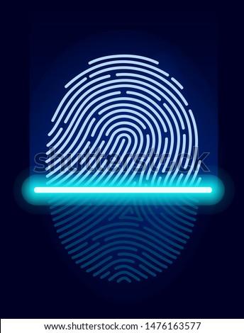 Fingerprint scanner ID symbol. Scanning identification system. Laser scan fingerprint ID icon app. Fingerprint security check. Vector illustration digital biometric authorization and security concept