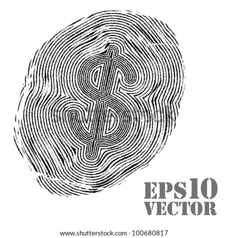 Fingerprint with euro sign. Vector illustration.