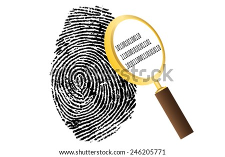 fingerprint with magnifying glass and binary code security vector illustration