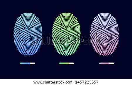 Fingerprints. Cyber security concept. Digital security authentication concept. Biometric authorization. Identification. Vector illustration of the fingerprint of different colors on a black background