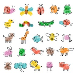 Fingerprints for kids. Game preschool education art with funny insects drawing paintings steps recent vector finger art templates collection