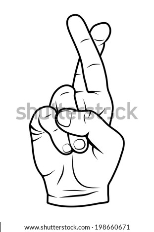 fingers crossed outline vector