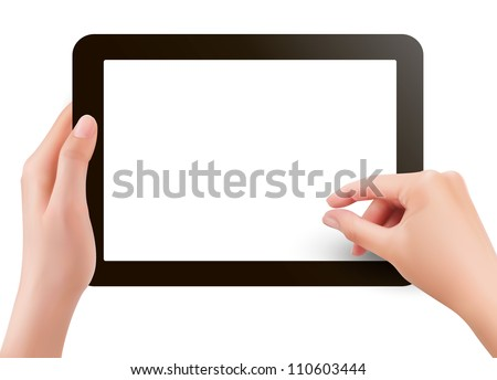 Fingers pinching to zoom tablet's screen. Vector.