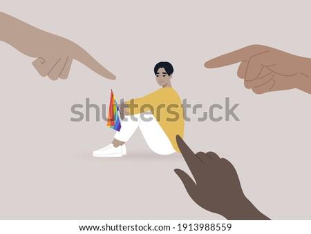 Fingers pointing at an lgbtq person, homophobia problem, cruel intolerant society Сток-фото ©