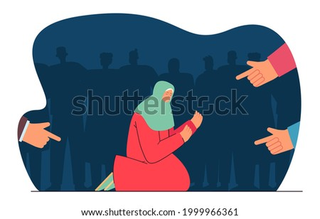 Fingers pointing at begging for charity woman. Society condemning person flat vector illustration. Aggression, attack, bullying concept for banner, website design or landing web page Photo stock ©