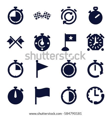finish icons set. Set of 16 finish filled icons such as finish flag, stopwatch, flag