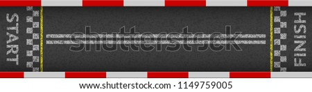 Finish line racing background top view. Art design. Start or finish on kart race. Grunge textured on the asphalt road. Abstract concept graphic element. Vector illustration.