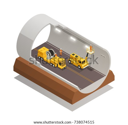 Finishing tunnel construction for highway isometric composition on white background 3d vector illustration stock photo