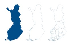 Finland map vector. High detailed vector outline, blue silhouette and administrative divisions map of Finland. All isolated on white background. Template for website, design, cover, infographics