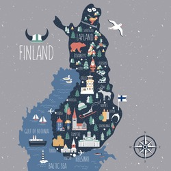 Finland travel cartoon vector map, Finnish landmarks, symbols, animals, flat buildings Lutheran Cathedral of Helsinki, Cathedral of Espoo, temple of Tampere, castles of Turku, Oulu, flat illustration