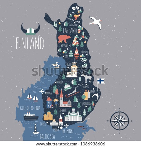 finland travel cartoon vector