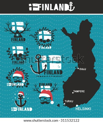 finnish map and labels vector