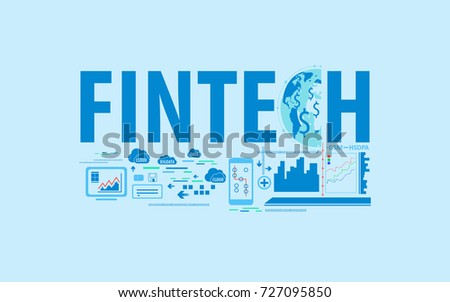 Fintech, business financial technology background with text and connected globe concept. Vector illustration.