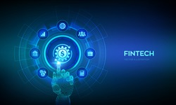 Fintech. Financial technology, online banking and crowdfunding. Business investment banking payment technology concept on virutal screen. Robotic hand touching digital interface. Vector illustration.