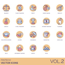 Fintech icons including balance, fund transfer, profit, growth, deposit, email, internet banking, planning, education savings, income, insurance, budgeting, home loan, bill, retirement, asset, gold.