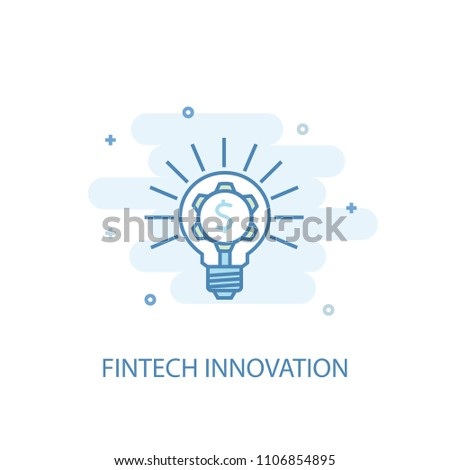 Fintech innovation concept line icon. Simple element illustration. Fintech innovation concept outline symbol design from Cryptocurrency set. Can be used for web and mobile UI/UX