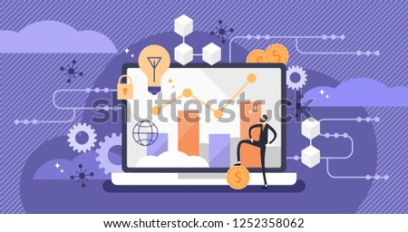 Fintech vector illustration. Mini person concept with modern finance services method. Flat smartphone tablet for investing in startups or cryptocurrency. Applies technology to improve money activities