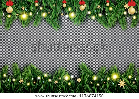 Fir Branch with Neon Lights, Christmas Ball and Stars on Transparent Background. Vector illustration.
