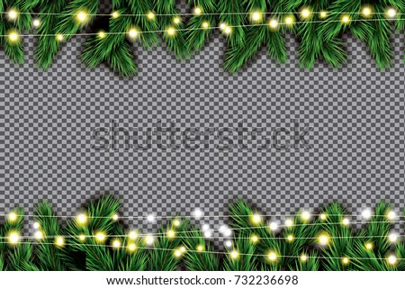 fir branch with neon lights on