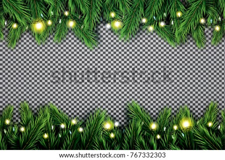 Fir Branch with Neon Lights on Transparent Background. Vector illustration.