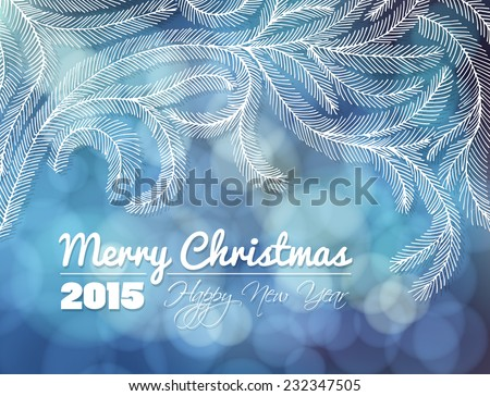 Fir branches. Hand - drawn decorative fir branches on blue bokeh background. Christmas illustration.