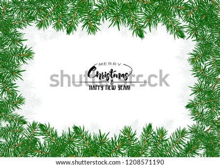 Fir branches. Template for greeting card for merry christmas and New Year,  invitation or sale banner, gift voucher. Isolated on white background. Colored vector illustration.  #1208571190