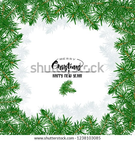 Fir branches. Template for greeting card for merry christmas and New Year,  invitation or sale banner, gift voucher. Isolated on white background. Colored vector illustration.  #1238103085
