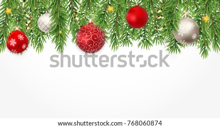 Fir Branches with Snow and Balls. Merry Christmas and New Year Winter Background. Vector Illustration EPS10