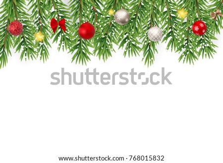Fir Branches with Snow. Merry Christmas and New Year Winter Background. Vector Illustration EPS10
