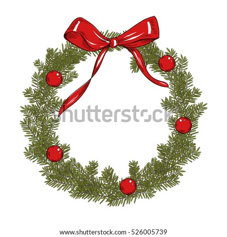 Fir christmas wreath with red balls and ribbon. Vector template on the white background.