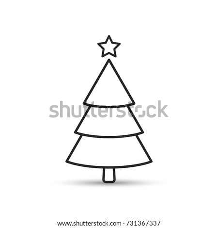 Fir tree outline icon, flat design style. Spruce line vector illustration. #731367337