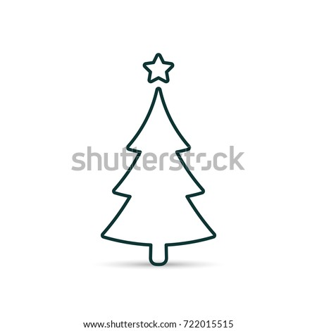 Fir tree outline icon. Spruce vector line symbol.