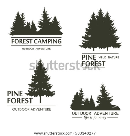 Fir trees silhouette logo plant wood branch natural forest silhouette. Trunk environment deciduous pinetrees silhouette vector logo growth seasonal. Vintage design template.