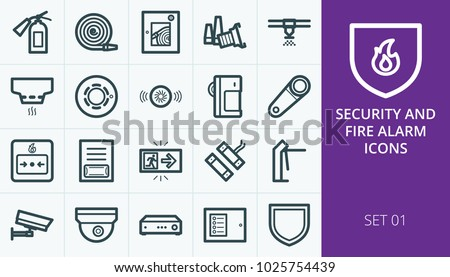 Fire alarm and security systems icons set. Set of heat detector, smoke sensor, motion infrared detector, sprinkler, access control, dome video camera