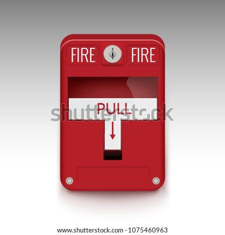 Fire alarm system. Pull danger fire safety box. Break red alarm equipment detector safe detector.