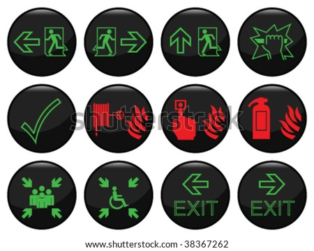 Fire and escape route black icon set individually layered - stock vector
